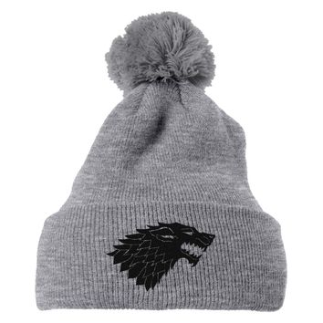 Game Of Thrones Wolf Embroidered Knit Pom Cap