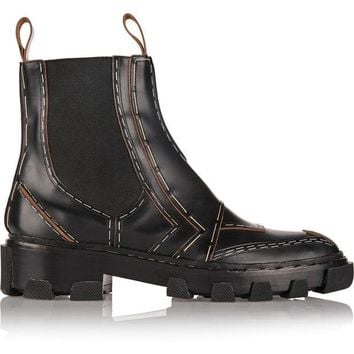 ONETOW balenciaga embellished leather chelsea boots 2
