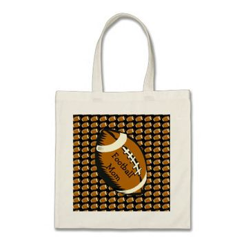 Football Mom Black and Brown Sports Budget Tote