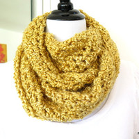 Mustard crochet cowl, yellow cozy chunky infinity scarf, gift under 40