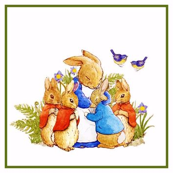 Peter Rabbit's Family in the Garden inspired by Beatrix Potter Counted Cross Stitch or Counted Needlepoint Pattern