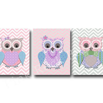 Pink owl family nursery decor, kids room decor, play room decor, nursery wall decor, girl room wall decor, mum owl, baby girl room decor