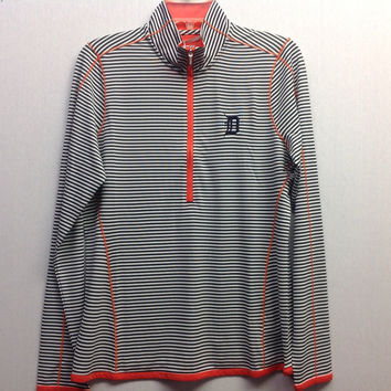 MLB Detroit Tigers Women's Trevor Stripe Three Quarter Zip Long Sleeve Pullover