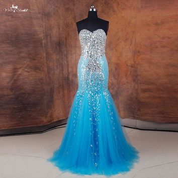 RSE737 Abendkleider Crystal 2016 Mermaid Prom Dress Blue Evening Dress With Crystals