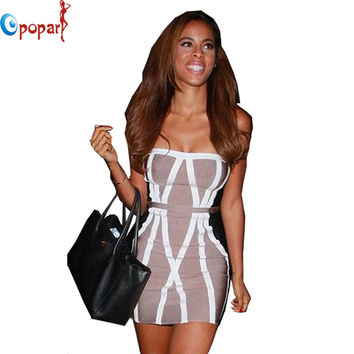 Hot Sexy Women's Bandage Dress with strapless shape sleeveless and striped pattern in club party ladies free shipping HL8894