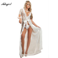 Adogirl White Black Fur Trim Glam Night Robe Exotic Apparel Dress Novelty Sexy Hollow Out Long Gown Night Clubwear Sexy Dress