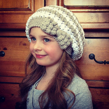 46ce60ad3cc Crochet Pattern for Bella Slouch Beanie Hat with Bobble Bow - 8 sizes