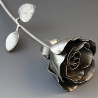 Longstem Rose Metal Sculpture by NatureofSteel on Etsy