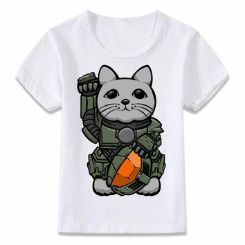 Kids Clothes T Shirt Halo Master Chief Halo Cat T-shirt for Boys and Girls Toddler Shirts Tee