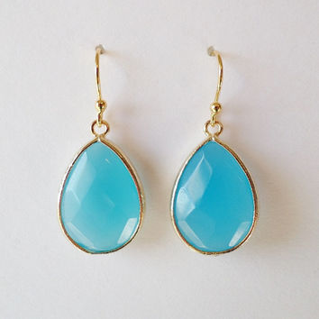 Ocean Blue Earrings - Gold and Blue Earrings - Gold Earrings - Blue Earrings - Drop Earrings - Gold Framed Blue Earrings - Christmas Gifts