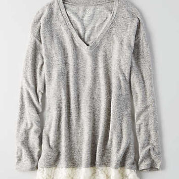 AEO Soft & Sexy Lace Trim Plush, Gray