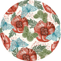 Paula Belle Flores's Poppies and Butterflies Circle Decal