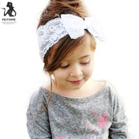Feitong Korean Lace Headband Baby Bow Kids Children Girls Hair Band Accessories for Girls Head Wrap accessoire cheveu
