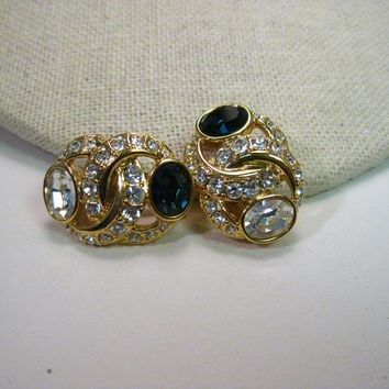Vintage Nolan Miller Faux Sapphire & Diamond Convertible Pierced/Clip Gold Tone Earrings