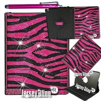 PINK ZEBRA iPad 2,3 or 4 Jersey Bling® Case with Crystals Rhinestones on Black Faux Leather Folio w/Built-in Stand & FREE Stylus