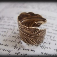 Free as a Bird. antiqued brass feather ring adjustable