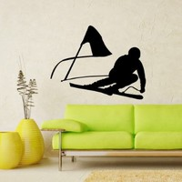 Vinyl Decals Ski Skiing Skier Speed Snow Winter Extreme Sport Wall Art Sticker Home Modern Stylish Interior Decor for Any Room Smooth and Flat Surfaces Housewares Murals Design Window Graphic Bedroom Living Room (5012)