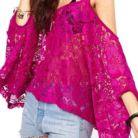 Purple Off The Shoulder Cut Out Lace Blouse