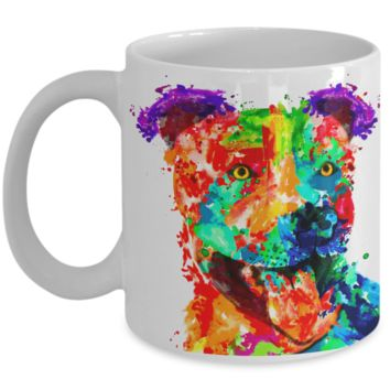 Colorful and vibrant pit bull mug
