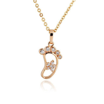 Kuniu 18K Gold Plated Cute Foot Crystal Pendant Necklace Chain