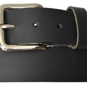 Marshal New Top Grain Genuine Leather Mens Casual Belt with Rounded Silver Buckle