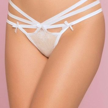 White Floral Lace Strappy Thong in M
