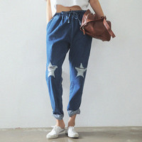 Autumn South Korean Star Shaped Damage The Elastic Waist Loose Haren Jeans
