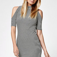 LA Hearts Stripe Ribbed Cold Shoulder Dress at PacSun.com