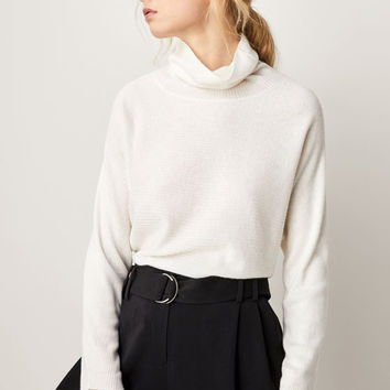 RIBBED CAPE-STYLE WOOL SWEATER - Women - Massimo Dutti