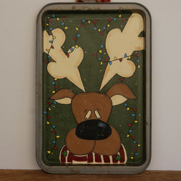 Reindeer Cookie Sheet Decoration ~ Hand Painted Christmas Reindeer On A Cookie Sheet ~ Rustic Christmas Decor ~ Reindeer Decoration