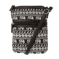 Black and White Elephant Print Crossbody Bag