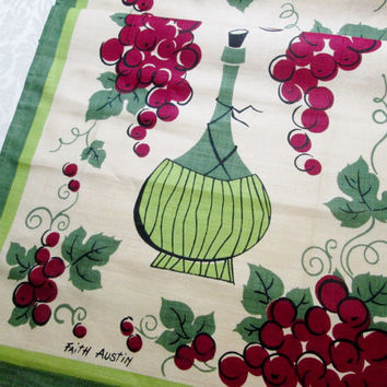 Vintage Linen Towel by Faith Austin Wine Bottle Grapes Unused Mint