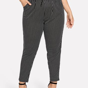 Plus Striped Drawstring Pocket Pants