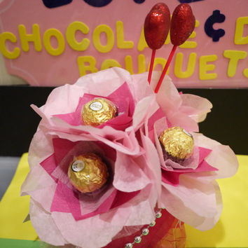 Ferrero Rocher Chocolate Flowers in a vase. Perfect Valentine's day gift!