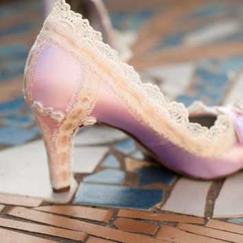 Pink lace and crystal wedding shoes 64 colors by TheCrystalSlipper