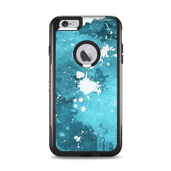 The Abstract Bleu Paint Splatter Apple iPhone 6 Plus Otterbox Commuter Case Skin Set
