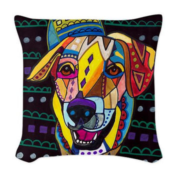 Labrador Art Pillow - Dog Woven Throw Pillow - Modern Abstract Art by Heather Galler