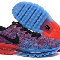 """Nike Air Max Flyknit"" Men Sport Casual Rainbow Flywire Weave Air Cushion Sneakers Running Shoes"