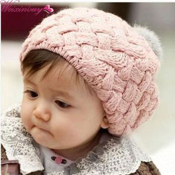 WEIXINBUY 4 Colors Baby Girl Crochet Beanie Knitted Cap with Fur Top Fitted Kids Accessories Knitting Baby Warm Beret Hat H2