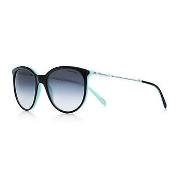 Tiffany & Co. - Tiffany Twist round sunglasses in silver-colored metal and black acetate.