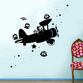 Wall Decal Vinyl Sticker Decals Art Decor Design Disney Pilot Plane Stars Owls Gift Kids Children Nursery Bedroom (r875)