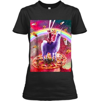 Laser Eyes Outer Space Cat Riding On Llama Unicorn  Ladies Custom