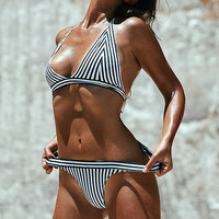 2017 Sexy Striped Bandage Women Brazilian Bikinis Set Beach Bathing Suits Without Pad Swimwear Maillot de bain Femme Biquini -04101