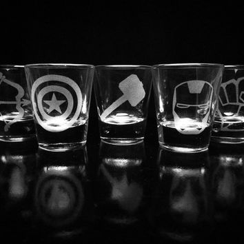 The Avengers- Shot Glasses - Set of 5- Iron Man- Captain America- Thor- Hulk- Hawkeye- Marvel