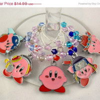 Kirby Dreamland inspired geeky wine glass charms set of 5 video game charms handmade wine charms party wine charms