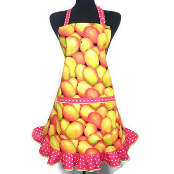 Retro Kitchen Apron for Women , Mango with Peach Polka Dot Ruffle