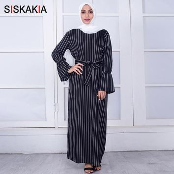 Siskakia Women long dress Elegant Vertical stripe design maxi dresses Bow slim sashes long sleeve Dress Autumn 2018 Black white