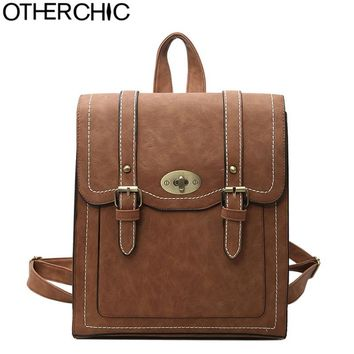 OTHERCHIC Fashion Women Backpack High Quality Vintage Leather Backpacks Teenage Girls School Shoulder Bag Haversack L-7N07-93