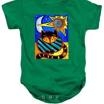 Sun And Moon - Honourable Cat - Art By Dora Hathazi Mendes Baby Onesuit