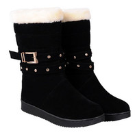 Studded Cross Straps Snow Boots With Buckle